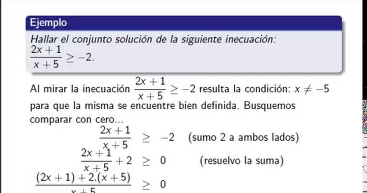 Matematica 1 - Relaciones de orden - Inecuaciones
