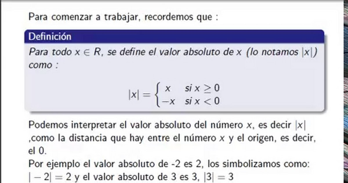 Matematica 1 - Valor Absoluto