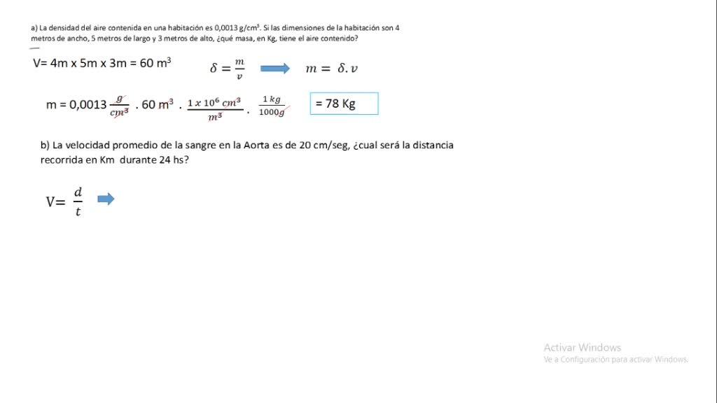 Explicación problema de transformación de unidades