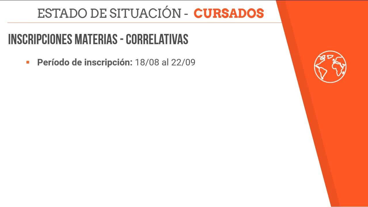 Estado de situación - Calendario / Inscripciones / Correlativas