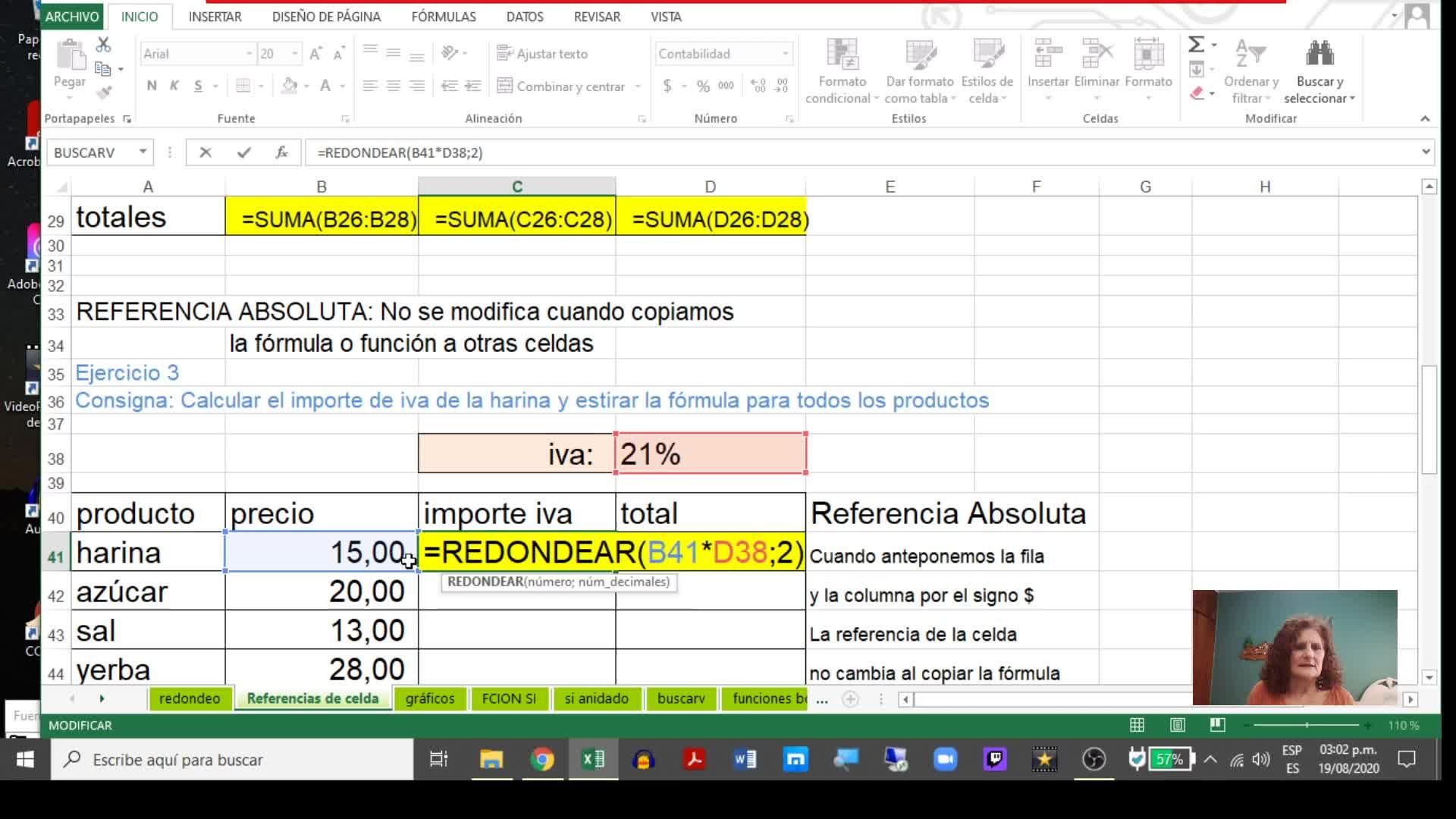 Excel 1_Función Redondear, Gráficos y Referencias