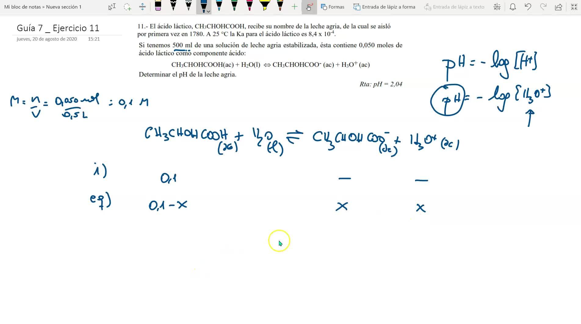guía de equilibrio químico _ ejercicio 11