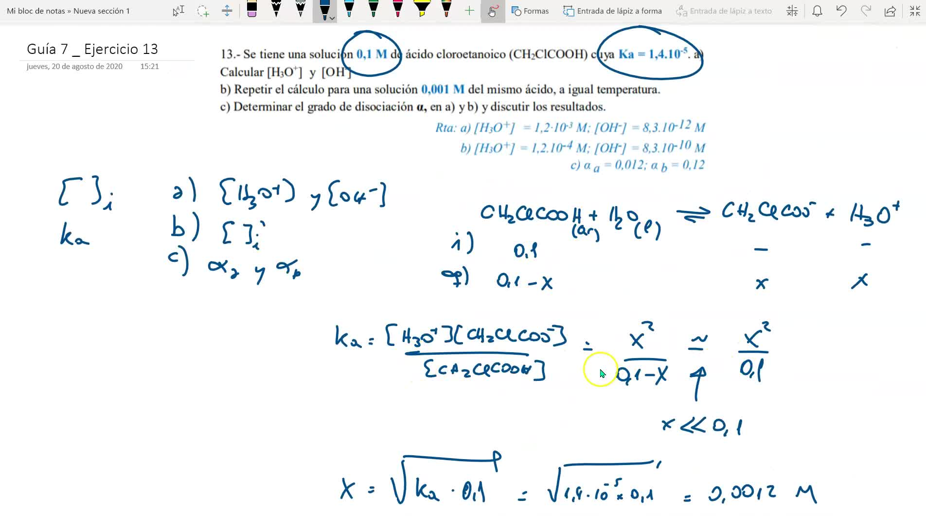 guía de equilibrio químico _ ejercicio 13