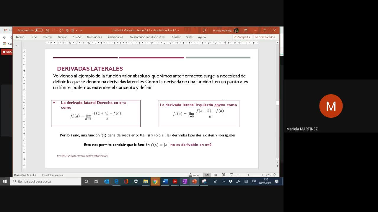 Clase Teórica (08-09-20)- Derivadas- 2da. Parte