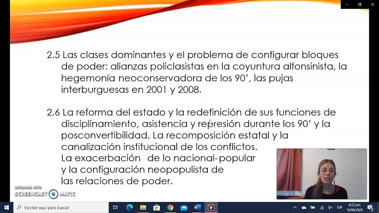 FADECS/Lic. Sociología/Análisis de la Sociedad Argentina/ Prof. Giaretto -Teórico N° 9-