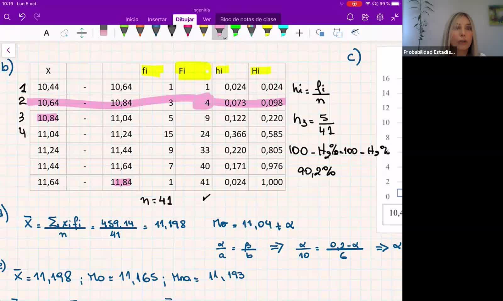 INGENIERÍA, Probabilidad y Estadística, REPASO 1er Parcial - resolución parcial viejo, Práctica, Prof. Haique
