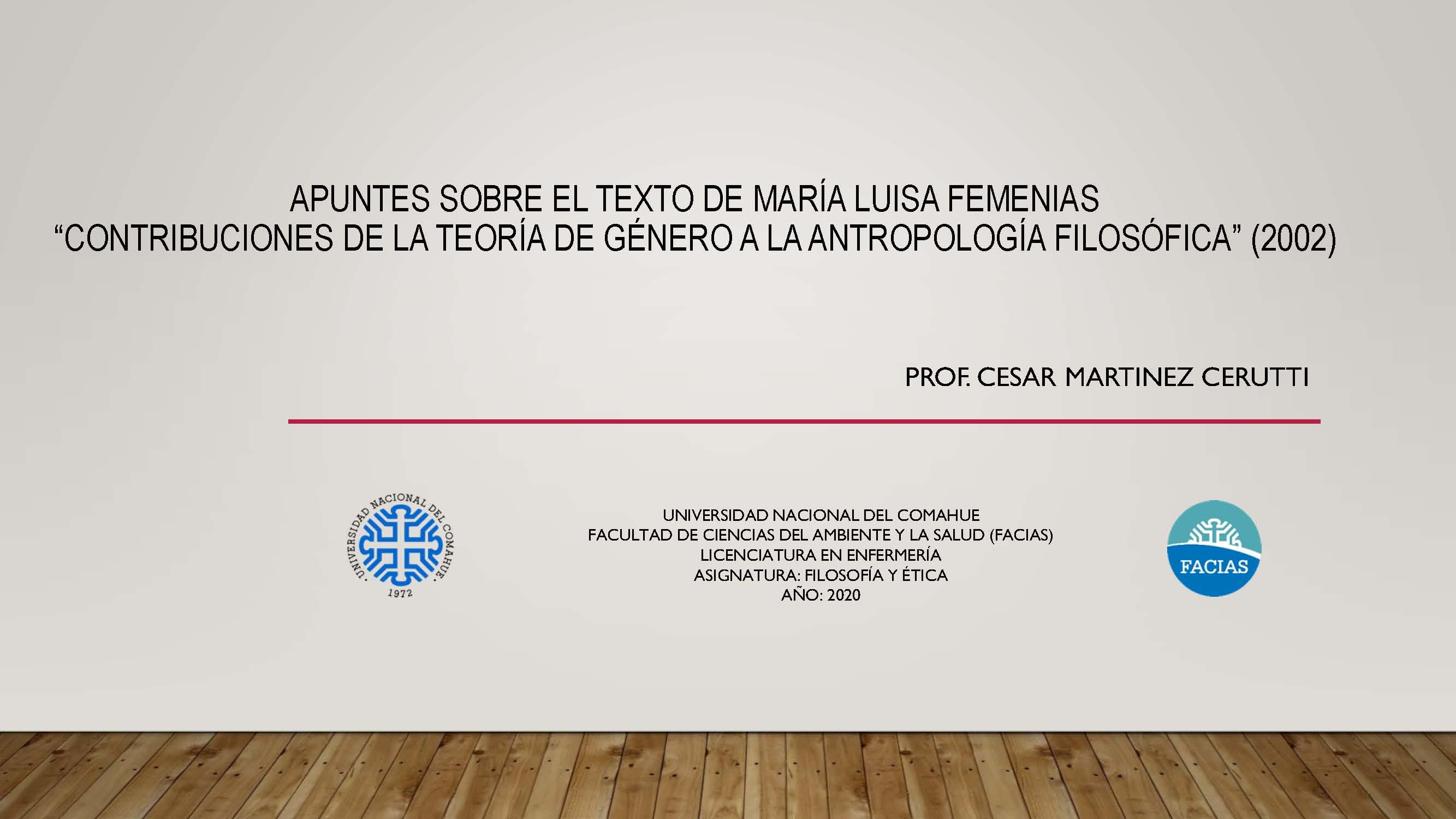 """Apuntes Unidad 2: """"Contribuciones de la teoría de género a la antropología filosófica"""""""