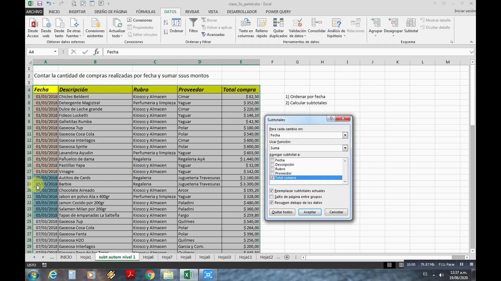 Clase Teórico-práctica: Subtotales Automáticos en Excel