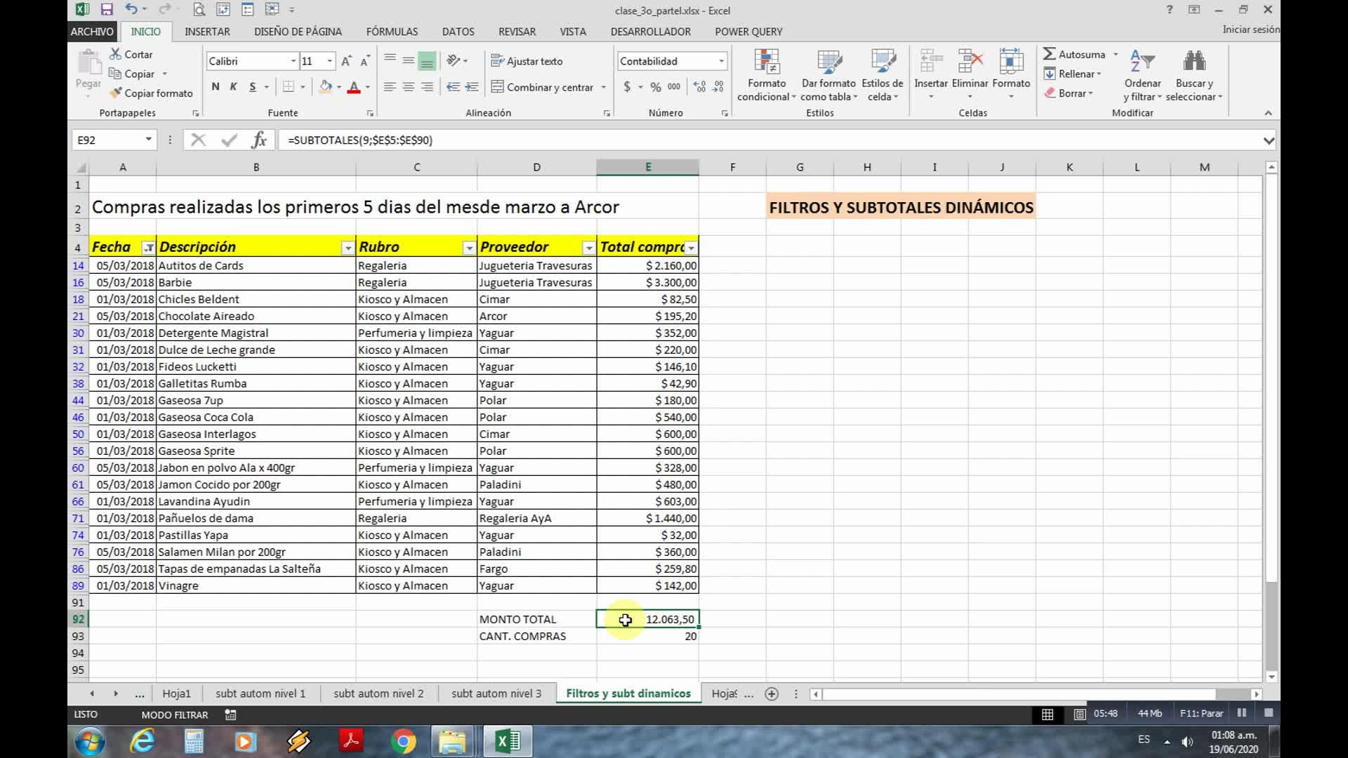 Clase Teórico-Práctica: Filtros y Subtotales dinámicos en Excel