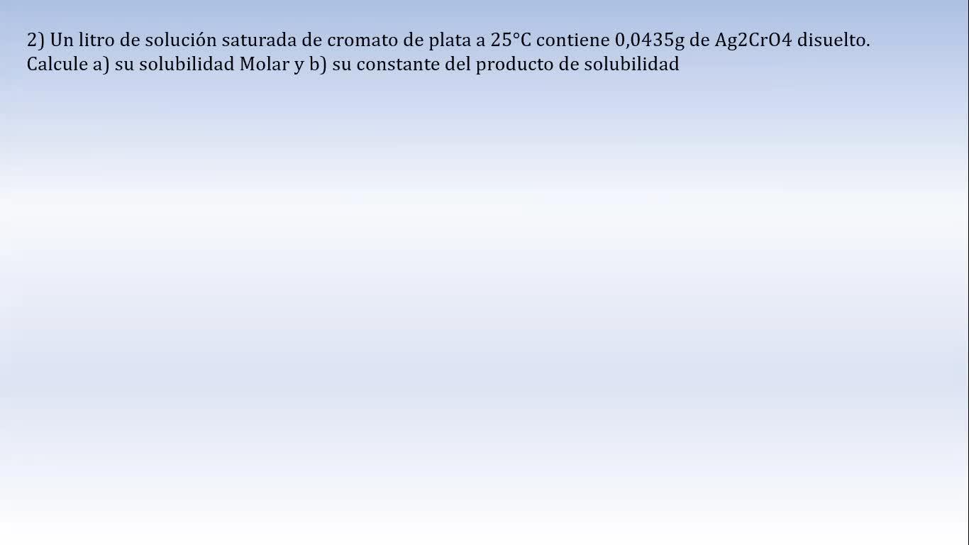 Ingeniería Agronómica- Química Analítica- Equilibrios de solubilidad- Video N°21
