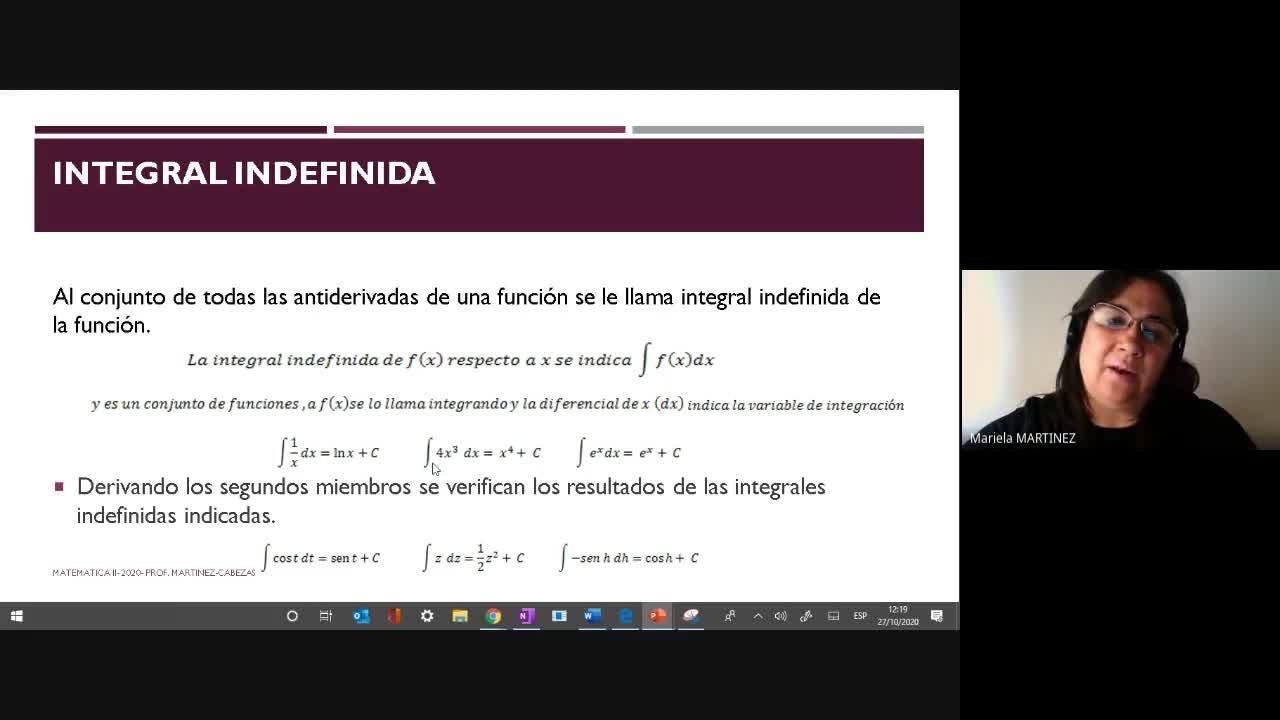 Clase Tórica (27-10-2020) Integral Indefinida