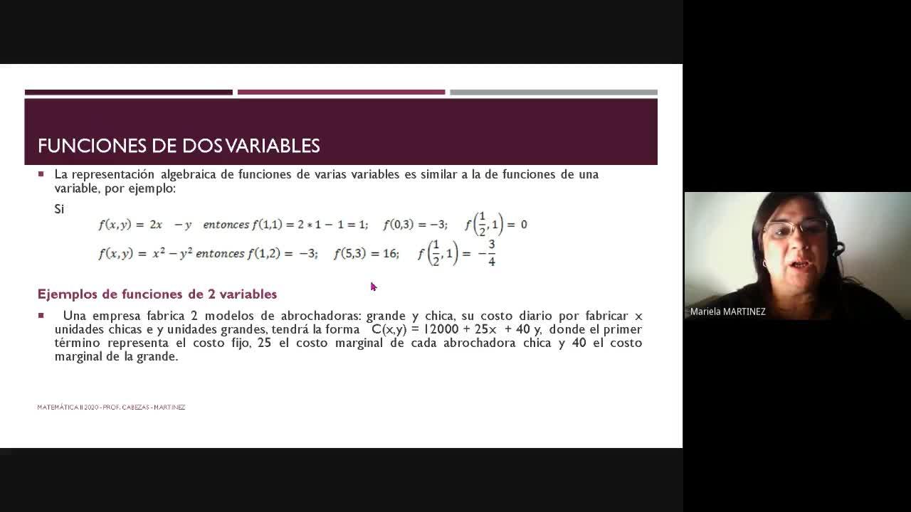 Clase Teórica(10-11-20) Funciones de dos Variables