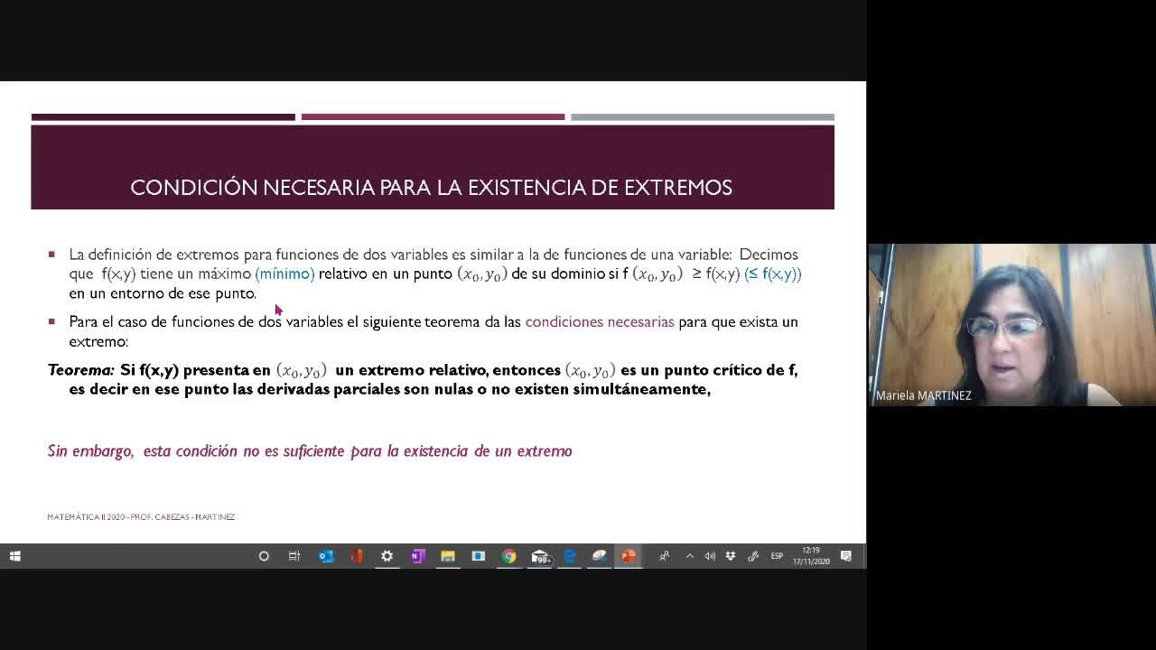 Clase Teórica- (17-11-2020) Extremos de funciones de dos Variables