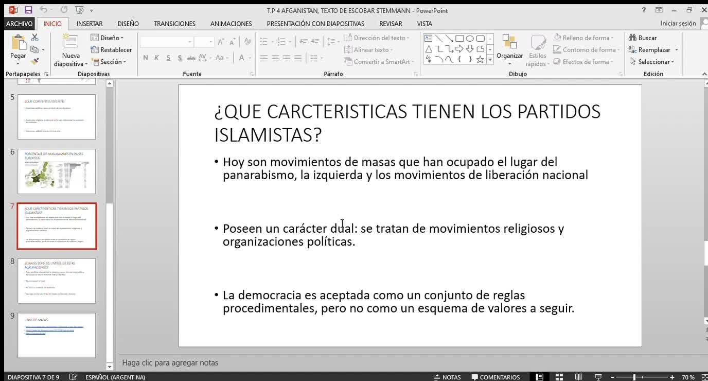 EXPLICACION TEXTO DE ESCOBAR STEMMANN (ISLAMISMO)