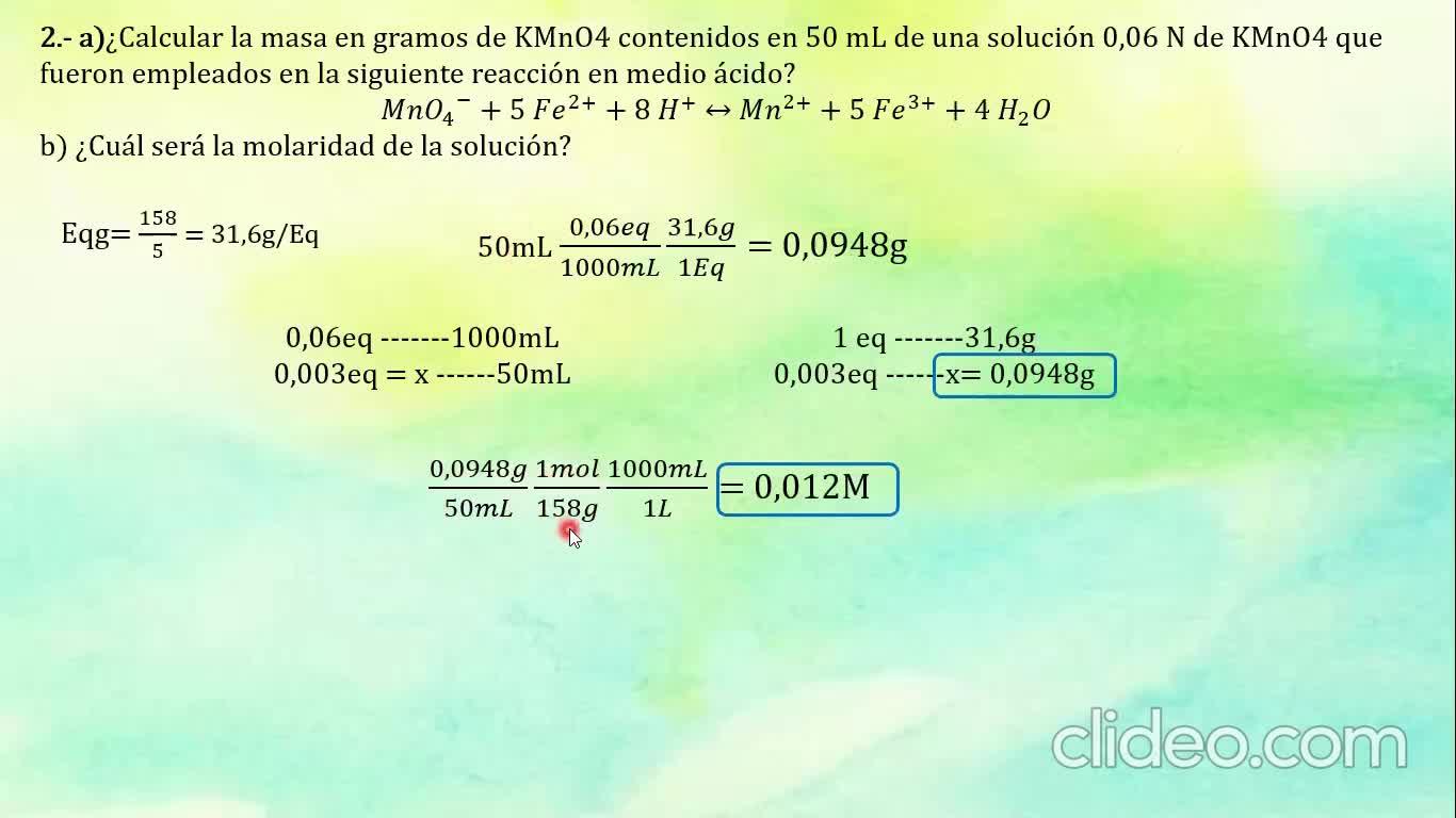 Ingeniería Agronómica- Química Analítica- Resolución Guía 10 completa- Video N°39