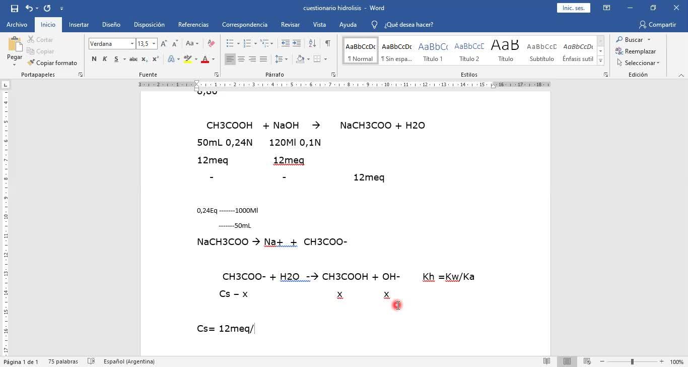 Ingeniería Agronómica- Química Analítica- Ejercicio hidrólisis- Video N°41