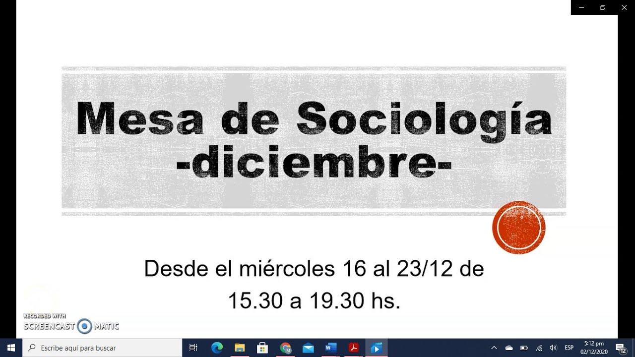 FACE/Mesa de Sociología para Psicología -Diciembre-