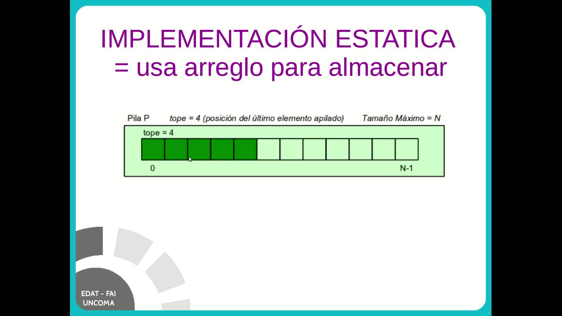 EDAT - Video 2.1 - Pila (implementación estática)