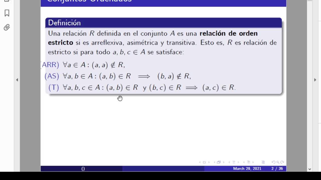 Maestría y Lic. en Matemática. Estructuras Ordenadas. Clase I (29-03-21)