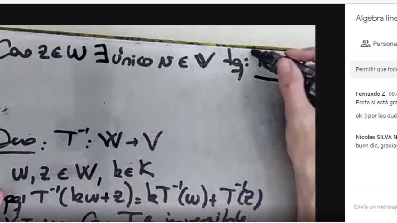 Licenciatura en Matemática. Álgebra Lineal II. Clase 5. Video 3 (30-3-21)