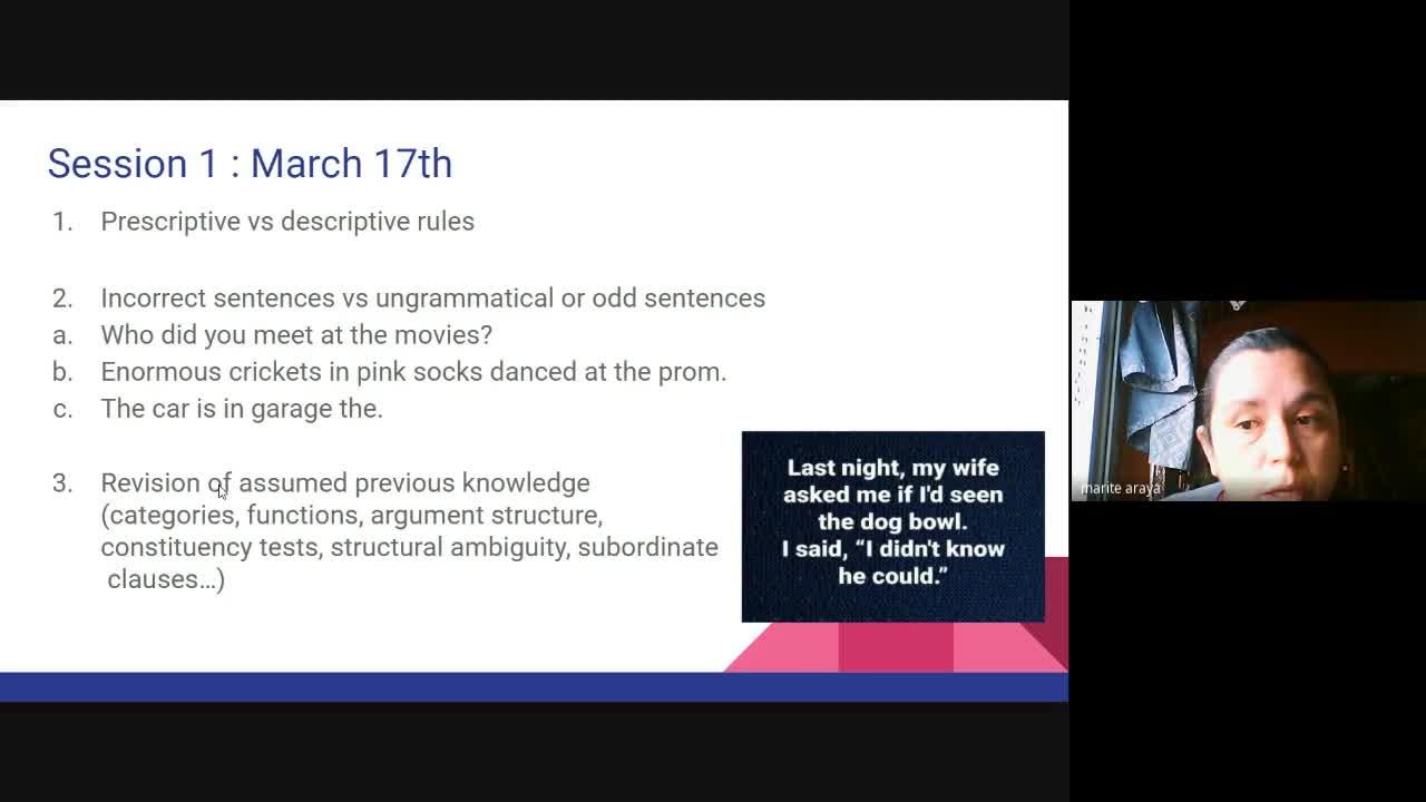 English Grammar III - Session 31st March