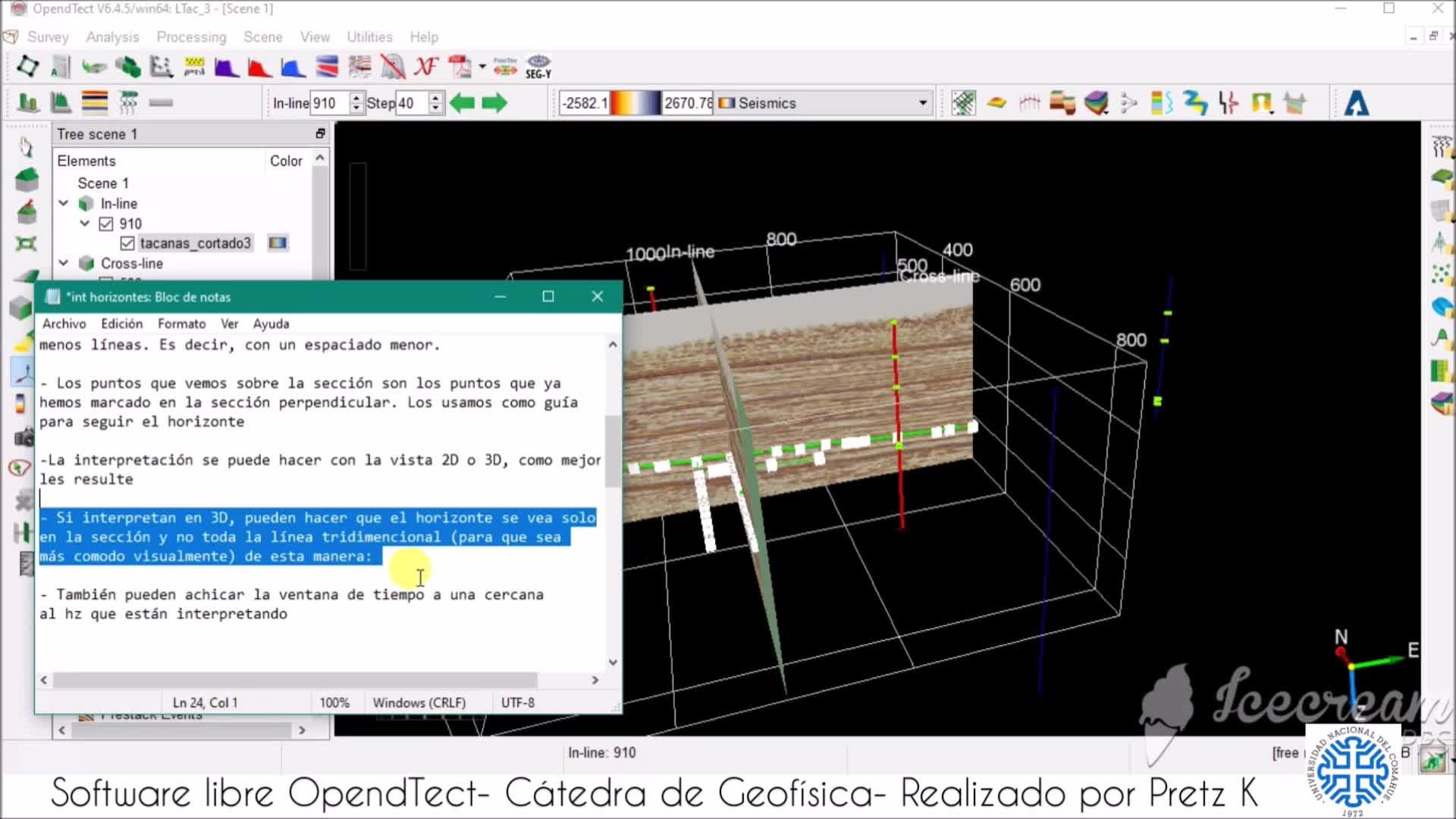 Interpretación sísmica - tutorial OpendTect- horizontes