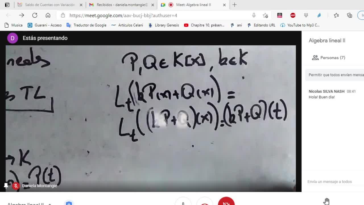 Licenciatura en Matemática. Algebra Lineal II. Clase 8. Espacios Duales (13-4-21)