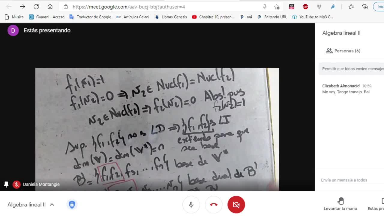 Licenciatura en Matemática. Álgebra Lineal II. Clase 10 Espacios Duales. Práctica 1