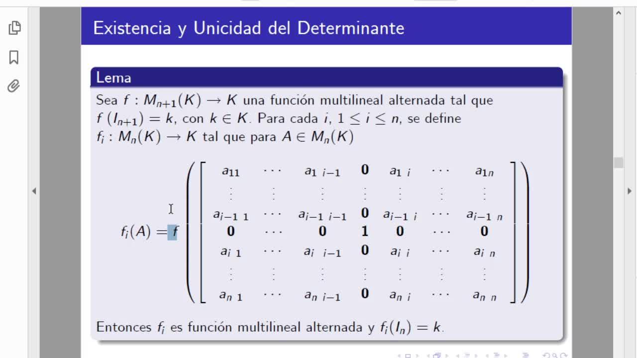 Licenciatura en matemática. Algebra Lineal II. Clase 12. Determinantes (6-5-21)