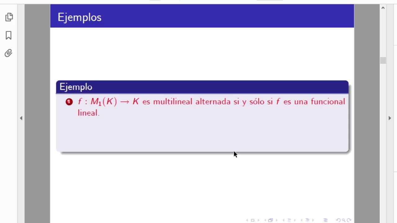 Licenciatura en Matemática. Algebra Lineal II. Clase 11. Determinantes (4-5-21)