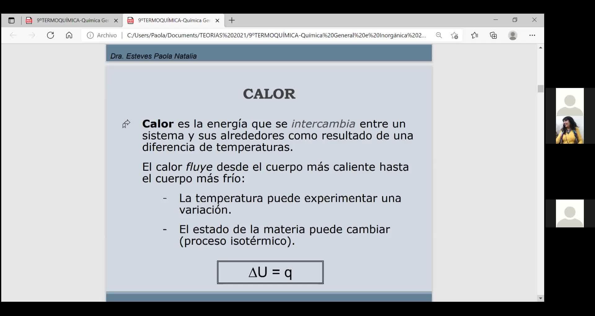 Ingeniería Agronómica- Química General e Inorgánica- Teoría Termoquímica