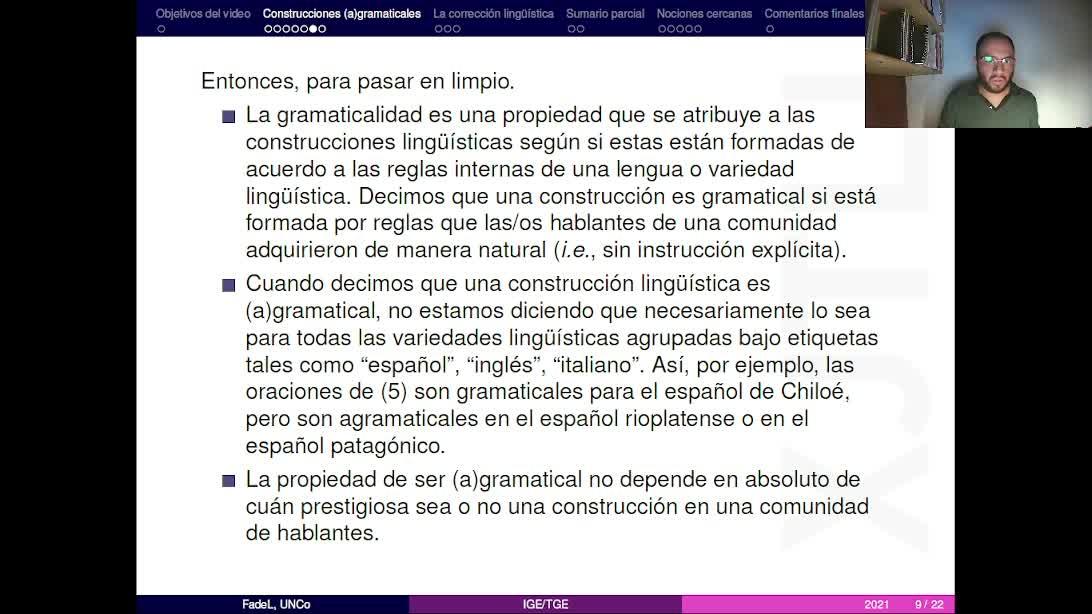 Video 2 - Gramaticalidad y nociones cercanas