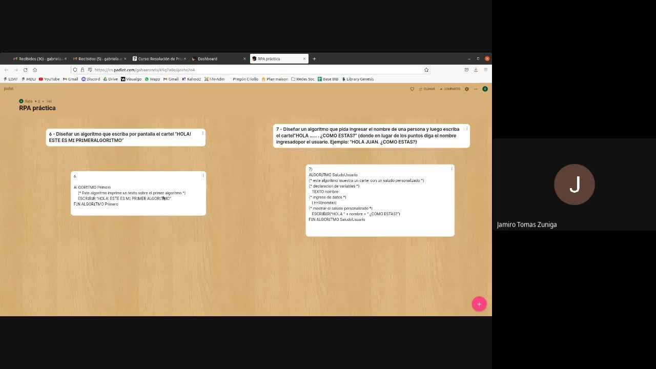 2021-08-30_RPA clase 6 revisamos ejercicios 8 al 11 algoritmos secuenciales